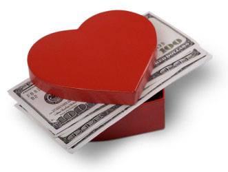 use money to buy love heart