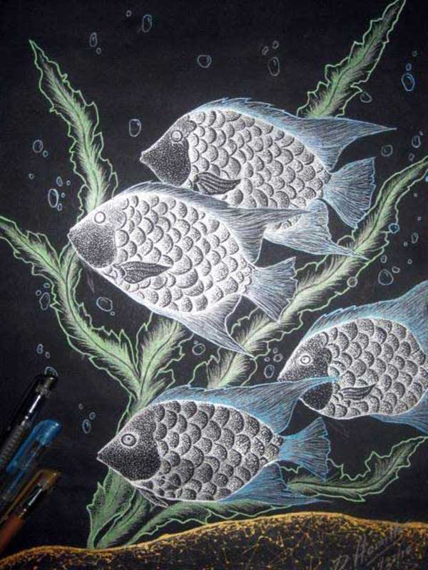 Fantasy surreal art drawing of fishes in the ocean