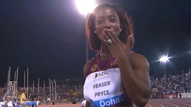 Shelly Ann Fraser Pryce race video wins Doha IAAF Diamond League Doha