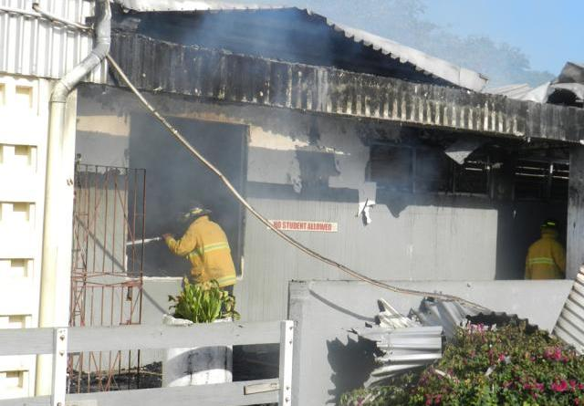 gunmen set light school on fire ablaze Tacky High St Mary jamaica
