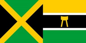 Picture of the Jamaican flag (known in Ghana as the Adinkra, Mframadan) and the Asante national flag.