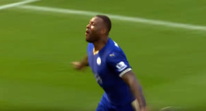 Wes Morgan celebrates after scoring his first goal of the season against Southhampton via Youtube