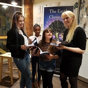 Children's Indie Author J A Browne with fans at the launch of Hannah and the Hollow Tree Book One in The Earth Chronicles epic environmental fantasy.