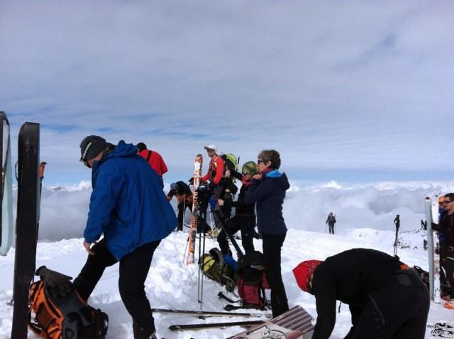 Llegada a la cima del Pico Bleonseiche