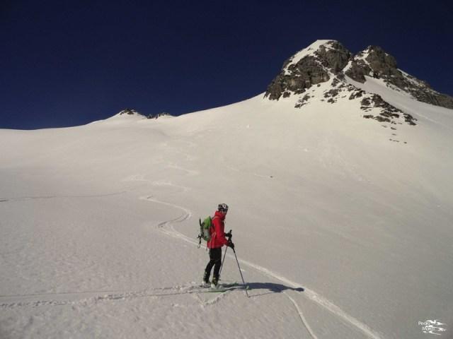 Primera pala esquiada, bajo el Caillabet de Rebec