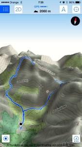 Previsualización en 3D del recorrido que íbamos a hacer