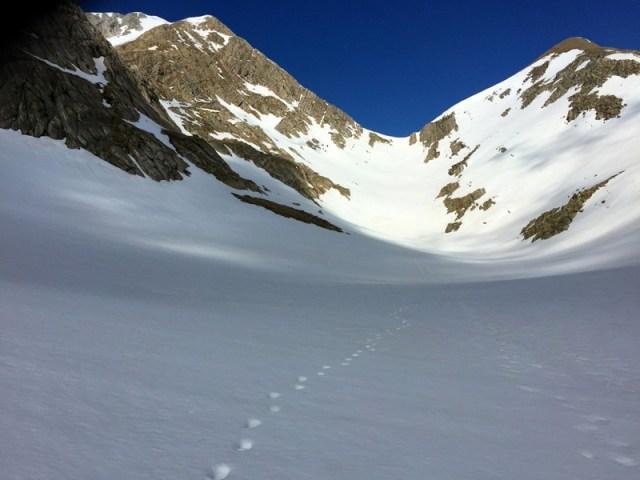 Campos de nieve sobre el Barranco de los Castillones