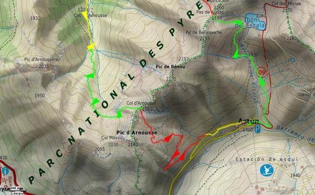 Detalle de la zona del valle de Arnousse