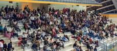 Mucha animación en la grada durante el primer encuentro de liga jugado en Jaca.