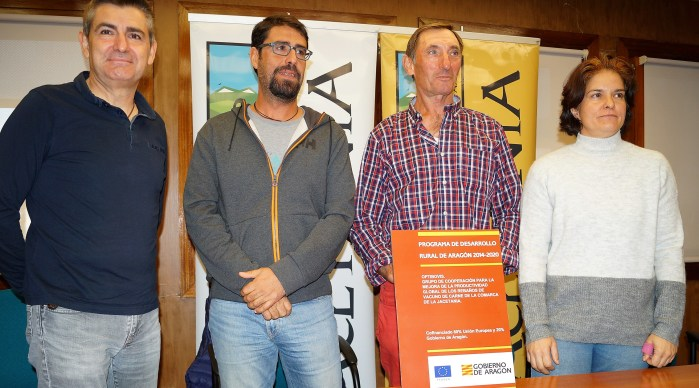 OPTIBOVIS. De izda. a dcha., Ara, Ferrer, Giménez y Bello, durante la presentación. (FOTO: Rebeca Ruiz)