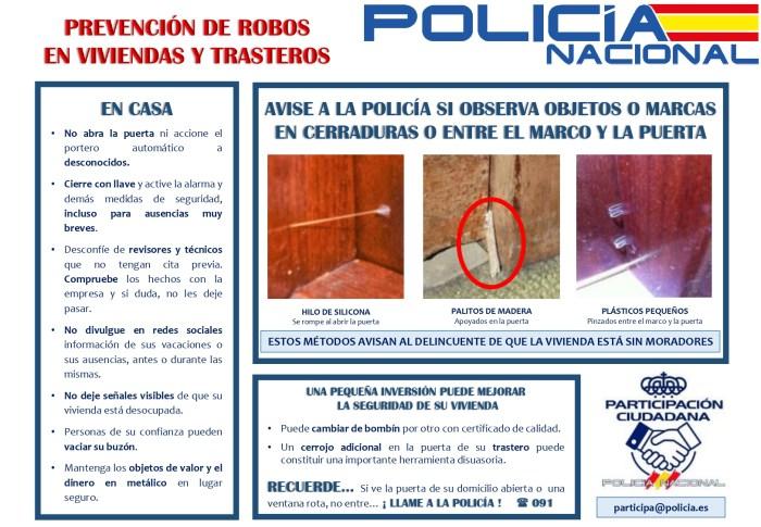 POLICÍA NACIONAL. Cómo evitar robos en viviendas y trasteros.