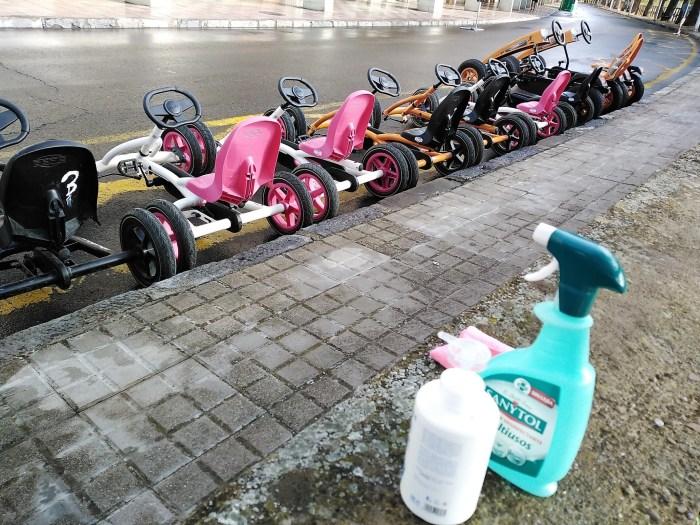 Medidas de desinfección en las actividades con los karts. (FOTO: Logic Move)