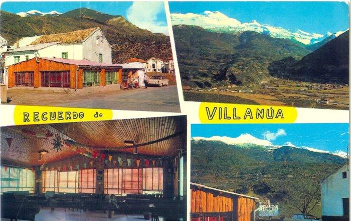 Postal de Villanúa con imágenes de la época de La Estrella.