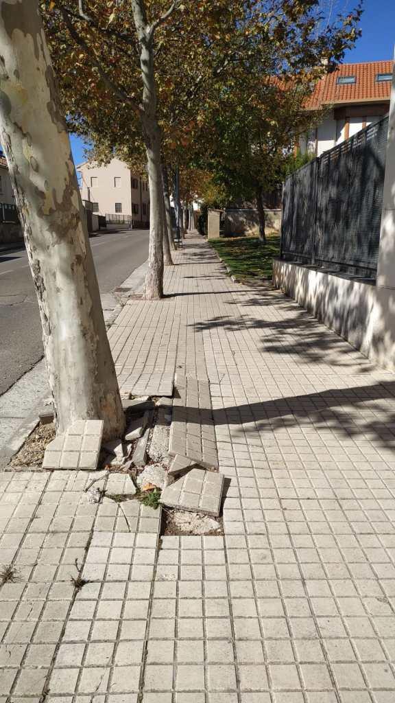 Deficiencias en aceras de Jaca. (FOTO: Ciudadanos)