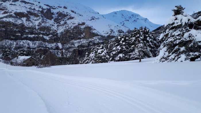 Los espacios nórdicos, en unas condiciones espectaculares tras el paso de Bella. En la imagen, Linza. (FOTO: Espacios Nórdicos de Aragón)