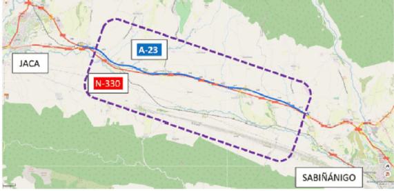 2,94 millones para rehabilitar el firme y crear una vía ciclista en la N-330 entre Jaca y Sabiñánigo