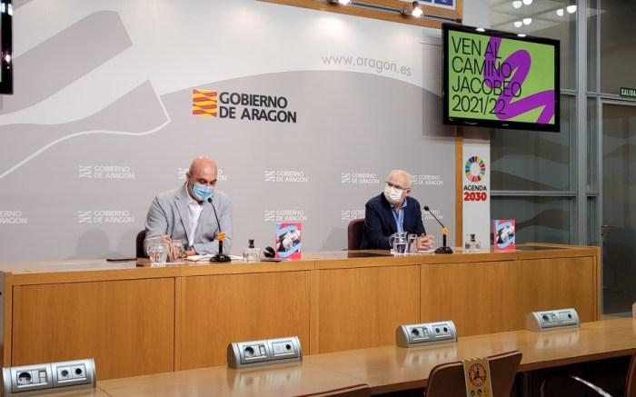 Música, arqueología y una nueva app para celebrar el Año Jacobeo en el Camino Francés por Aragón. En la imagen, un momento de la presentación. (FOTO: Gobierno de Aragón)