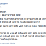 Stöðufærslan þar sem Sturla tilkynnir þetta.