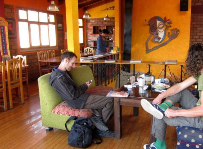 Hanging out at Cafe Andino, Huaraz, Peru