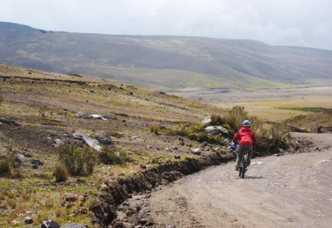 mountain biking down cotopaxi