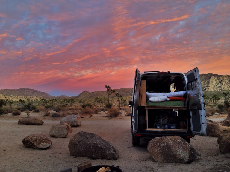 Van life with sunset in Joshua Tree