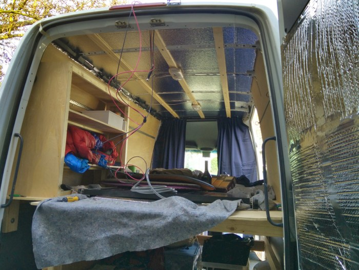 Running the cable to the interior of the van