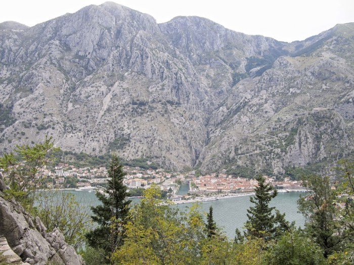 The trail to Fort Vrmac is located across the bay from the town of Kotor. You can see the town and the zig-zag trail to San Giovanni fort.