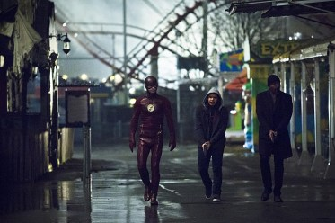 """The Flash -- """"Back to Normal"""" -- Image: FLA219b_0036b.jpg -- Pictured (L-R): Grant Gustin as The Flash, Carlos Valdes as Cisco Ramon and Jesse L. Martin as Detective Joe West -- Photo: Katie Yu/The CW -- © 2016 The CW Network, LLC. All rights reserved."""