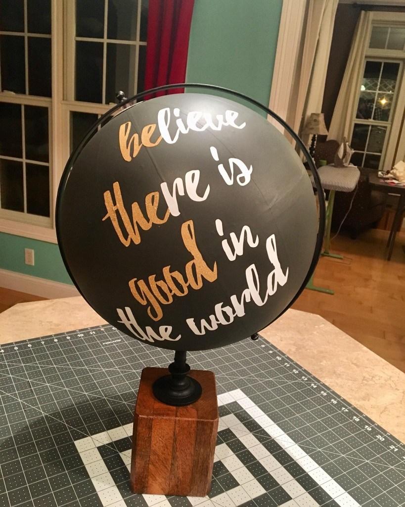 Kelly's 'be the good' Upcycled Globe