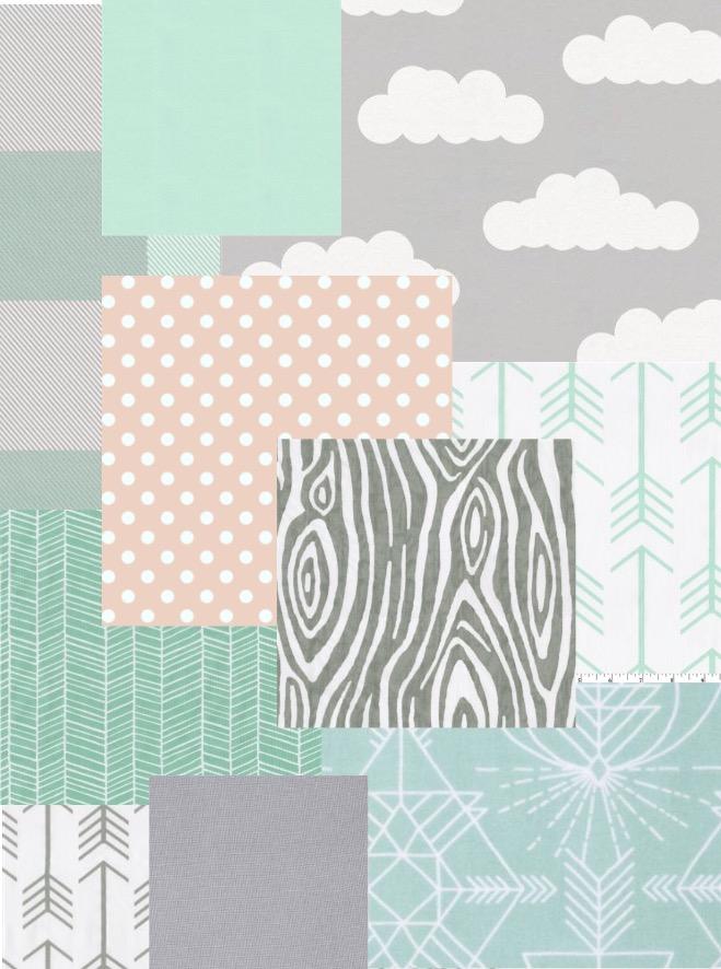 Mint Gray Blush fabric bundle