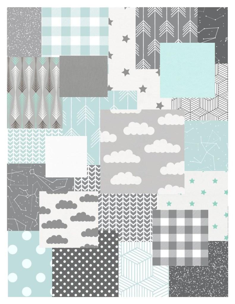 Mint - Gray fabric bundle
