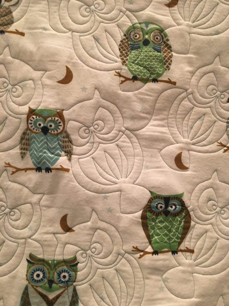 Oscar Owl - e2e longarm quilting back