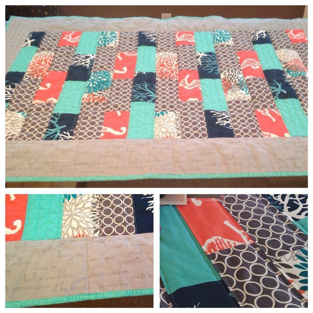 The Sea & Her Words Throw Quilt