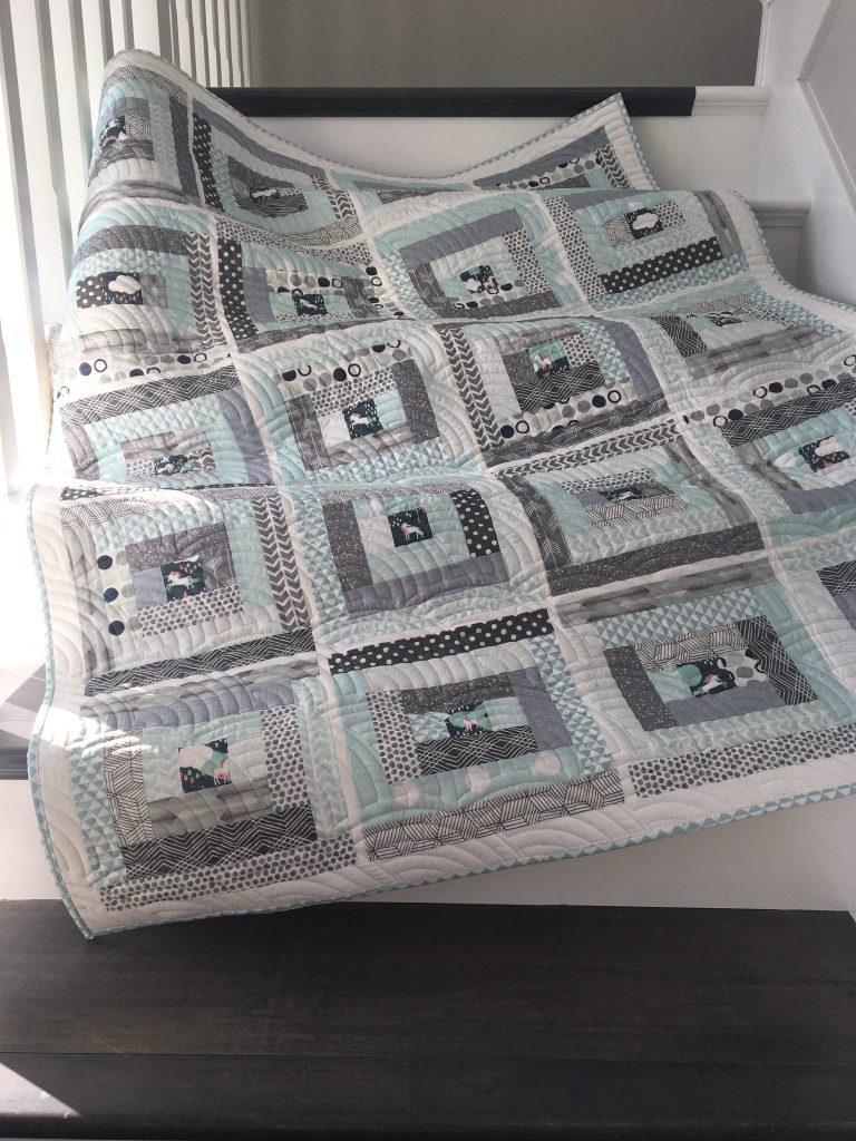 Unicorn - Mint Gray Baby Quilt