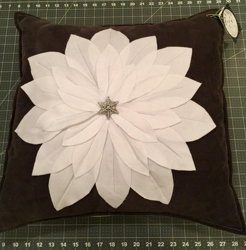 Upcycled Corduroy Poinsettia Pillow Sham