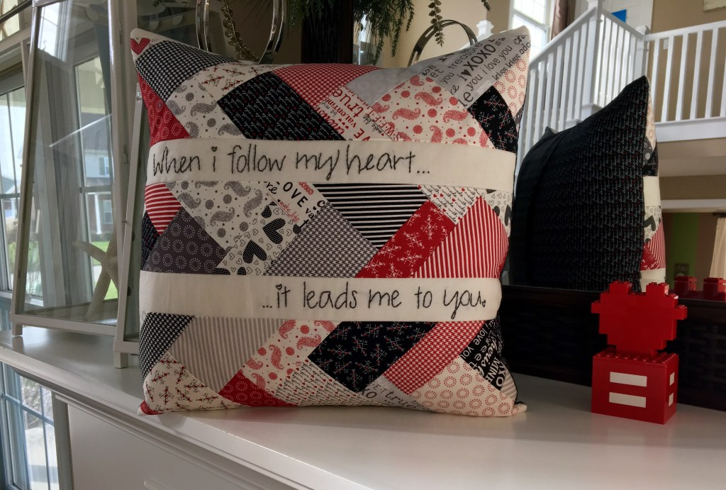 Valentine's Hand Embroidered Throw Pillow