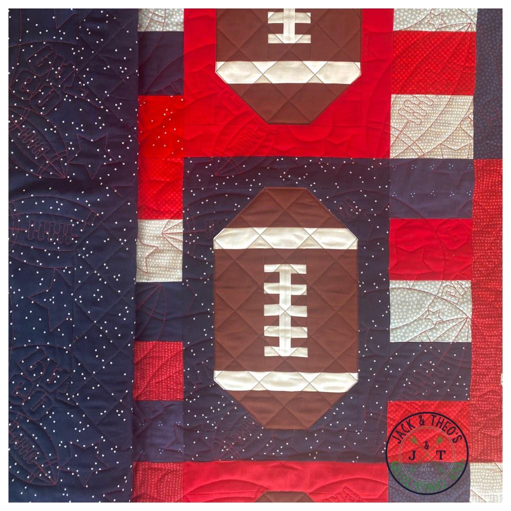 custom footbal quilting go patriots crosshatch