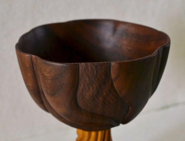carved walnut and osage orange vessel