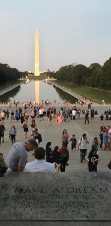 View of the National Mall from front of Lincoln Memorial-Evening