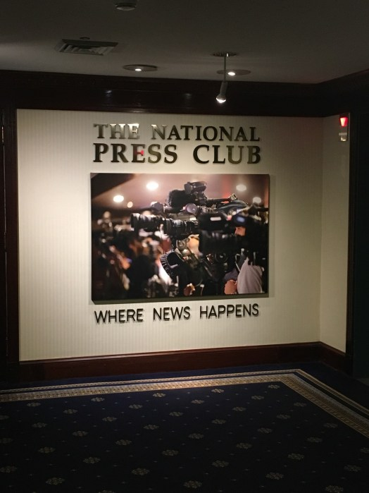 Sign by the entrance of the National Press Club