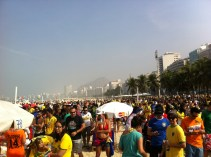 The crowd stretched across Copacabana beach