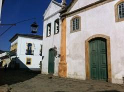 Colonial buildings along cobblestone streets