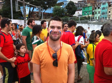 In my Dutch colours with the colourful favelas in the background