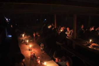 We socialised by candlelight at night