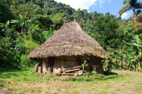 Some huts were reconstructed to model the ancient dwellings