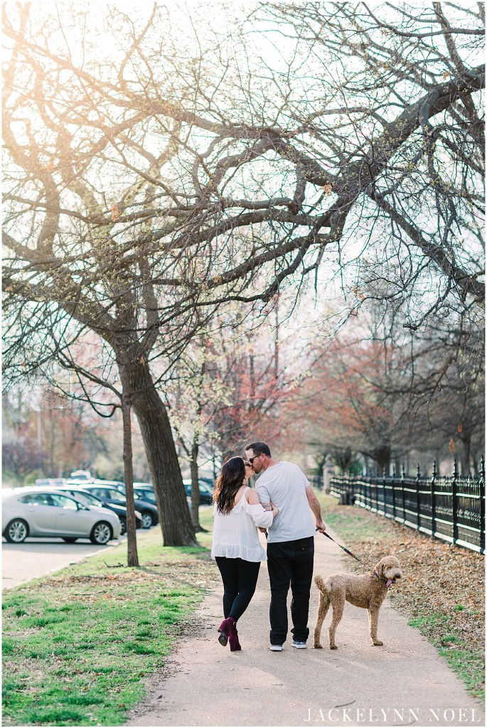 Alison and Tony's engagement session at Lafayette Park with their Labradoodle, Larry!