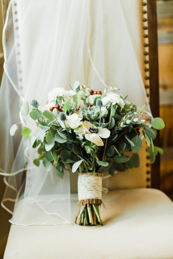 Photo of the bouquet by Walter Knoll Florist. Wedding venue, Cedar Lake Cellars, Photography by Jackelynn Noel Photography.
