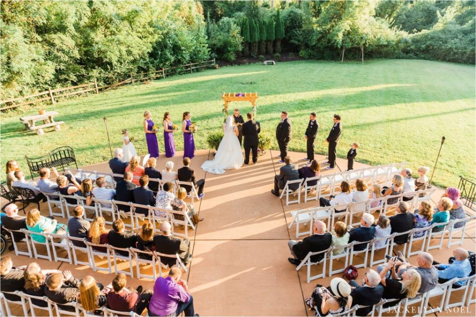 Photo of Dan and Lisa's wedding ceremony from above