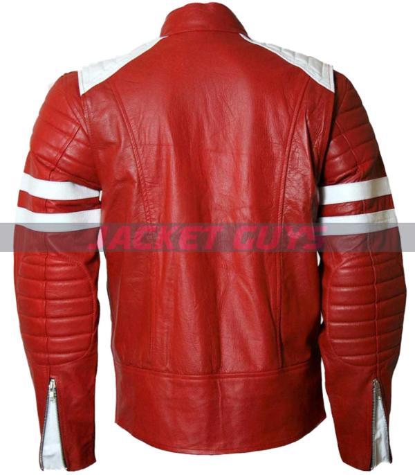 brad pitt tyler durden fight club red white leather jacket purchase now