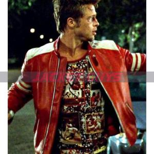 brad pitt tyler durden fight club red white leather jacket on discount